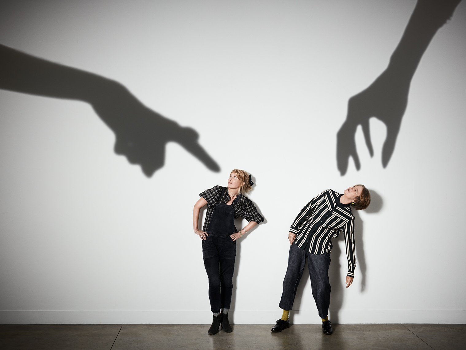 Julia Davis and Vicki Pepperdine photographed for Guardian Weeked Magazine
